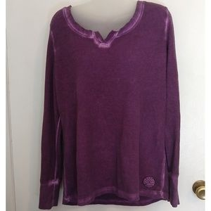 Life Is Good Purple Bleached Grunge Thermal Top L